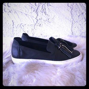 Black Studded Leather Tassel Slip On Sneakers